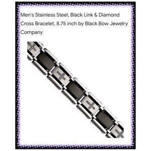 Stainless Steel & Diamond Cross Bracelet